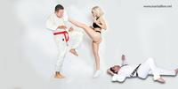 60 Karate woman fighting in thong
