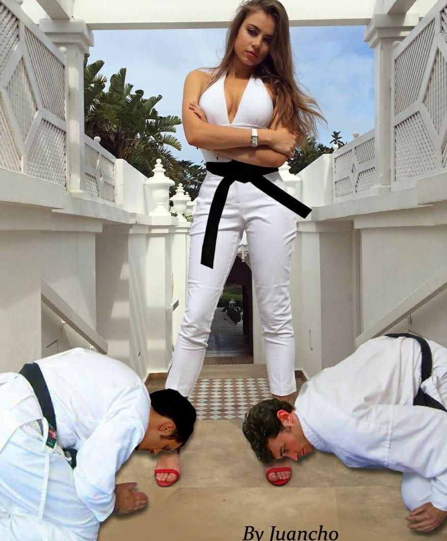 Gorgeous karate woman superiority